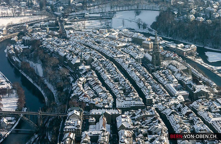 Altstadt, Kornhausbrücke, Münster, Bern, Luftaufnahme