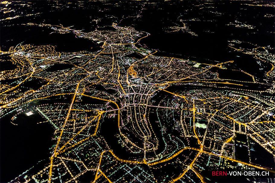 Bern bei Nacht, Luftaufnahme
