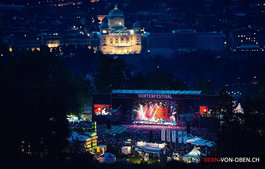 Gurtenfestival bei Nacht, Luftaufnahme